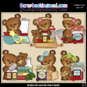 Cloey Bear Country Kitchen ClipArt Graphic Collection