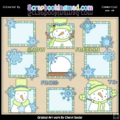 Blue & Green Let It Snow Squares ClipArt Graphic Collection
