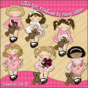 My Little Girl Valentines ClipArt Graphic Collection