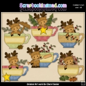 Moose Teacups ClipArt Collection