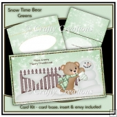 Snow Time Bear Card Kit - Green