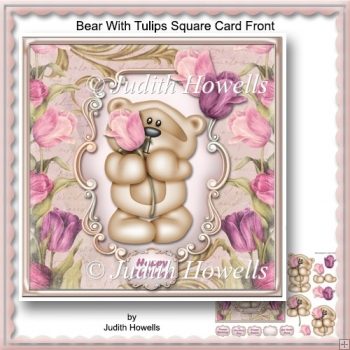 Bear With Tulips Square Card Front