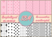 8 PNG Hearts & Flowers Paper Overlays 12 x 12 Designer Resources