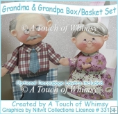 Grandma & Grandpa Box/Basket Set with Decoupage
