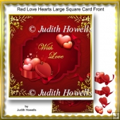 Red Love Hearts Large Square Card Front