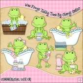 Wee Frogs Tubby Time ClipArt Graphic Collection