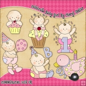 Celebrate Baby Girl ClipArt Graphic Collection