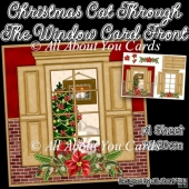 Christmas Cat Through The Window Card Front