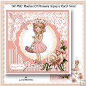 Girl With Basket Of Flowers Square Card Front