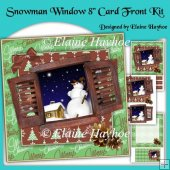 Snowman Window 8 inch Christmas Cardfront Kit