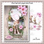 Pink Hat Girl Large Card Front