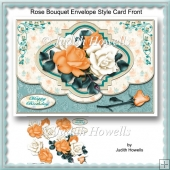 Rose Bouquet Envelope Style Card Front