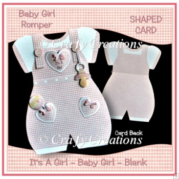Baby Girl Romper Suite Shaped Card