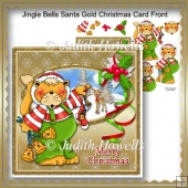 Jingle Bells Santa Gold Christmas Card Front