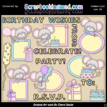 Mouse Peekers Birthday EXCLUSIVE ClipArt Collection