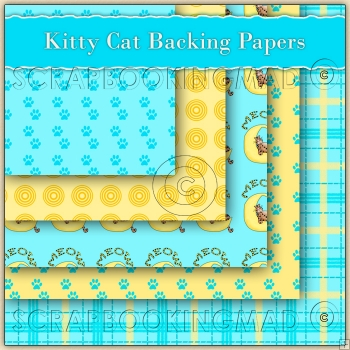 5 Kitty Cat Backing Papers Download (C59)