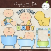 Bath Time For Baby Boy 1 ClipArt Graphic Collection