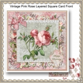 Vintage Pink Rose Layered Square Card Front
