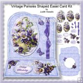 Vintage Pansies Shaped Easel Card Kit