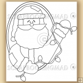 Santa String Of Christmas Lights - Digital Stamps