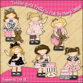 Toddler Girls Pretty In Pink ClipArt Graphic Collection