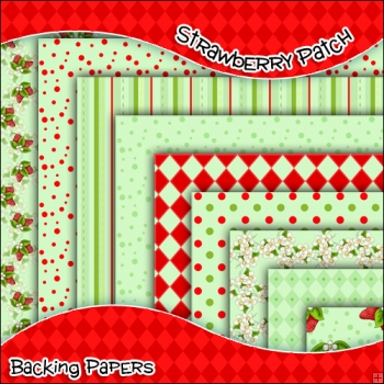 8 Strawberry Patch Birthday Backing Papers Download