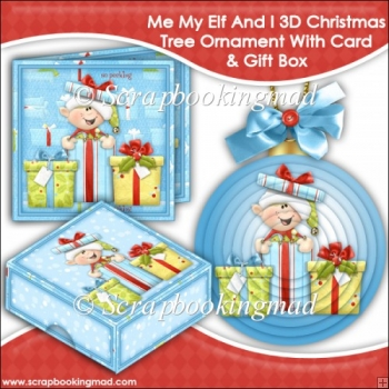 Me My Elf and I 3D Christmas Tree Ornament With Card & Gift Box