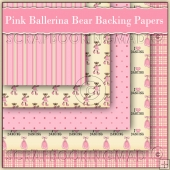 5 Pink Ballerina Bears Backing Papers Download (C161)