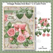 Vintage Roses And Bow 7 x 5 Card Front