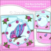 Pink Blue Butterflies N Roses Scalloped Foldback Card & Envelope