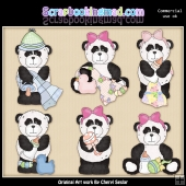 Chubby Panda Babies ClipArt Graphic Collection