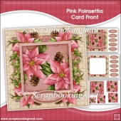 Pink Poinsettia Pyramage Card Front Kit