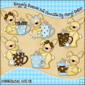 Raggedy Bunnies Hot Chocolate ClipArt Graphic Collection