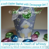 4 Inch Easter Baskets With Decoupage - Set 2