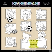 Peek A Boo Bears Sports Colour Your Own ClipArt RESALE SET
