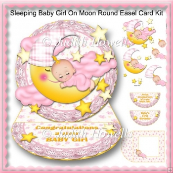 Sleeping Baby Girl On Moon Round Easel Card Kit