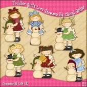 Toddler Girls Love Snowmen ClipArt Graphic Collection