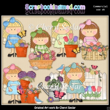 Lovely Lola Spring Blooms ClipArt Collection