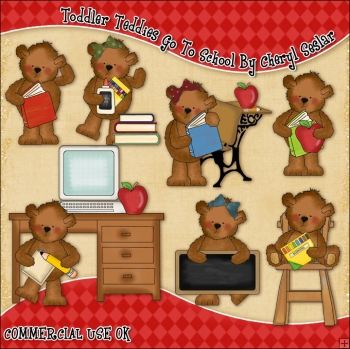Toddler Teddies Go To School ClipArt Graphic Collection
