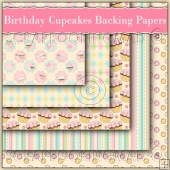 5 Birthday Cupcakes Backing Papers Download (C229)