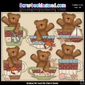 Beach Bear Cups Graphic Collection