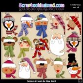 Christmas Heads ClipArt Graphic Collection
