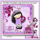 Girl With Cholocates Large Card Front And Insert