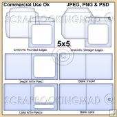 5x5 Envelope Card & Insert Templates Commercial Use