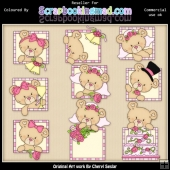 RESALE ART WORK Peek A Boo Bears Wedding ClipArt