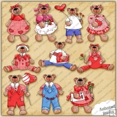 Valentine Bear Clipart Collection - REF - TP