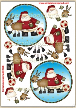 Football Santa PDF Decoupage Download