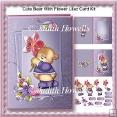 Cute Bear With Flower Lilac Card Kit