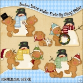 Booboo Bears Winter Frolic ClipArt Graphic Collection
