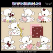 Valentine Polar Bears ClipArt Collection